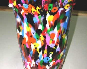 Multi Colored Perler Art Beads Melted Stationary Cup - Large