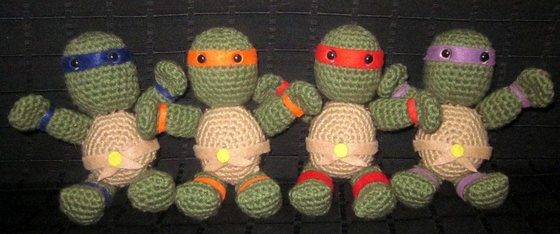 Ninja Turtle Crochet Amigurumi : TMNT Ninja Turtle Crochet Amigurumi Plush Dolls/Toys SET ...