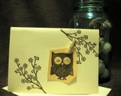 Unique, blank, embossed, owl card - 3D with buttons & clip