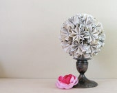 Globe of Musical Stars - Origami 5 inch Kusudama Ornament - Eco Decor - Recycled Sheet Music Paper