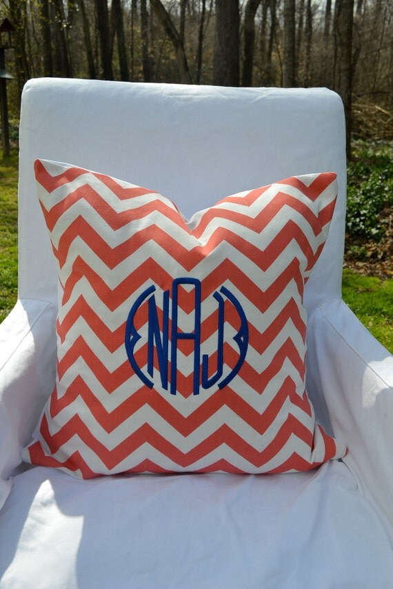 Monogrammed Throw Pillow Covers : Monogrammed Coral & White Chevron Throw Pillow by lilandgaines