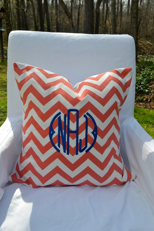 White Throw Pillows Etsy : Monogrammed Coral & White Chevron Throw Pillow by lilandgaines