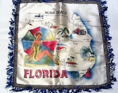 Miami Beach wall hanging or pillow cover, map of Florida.