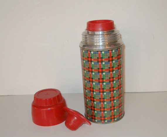 Vintage 1960's Holtemp by American Thermos Bottle Company No. 2059 Retro Plaid Design