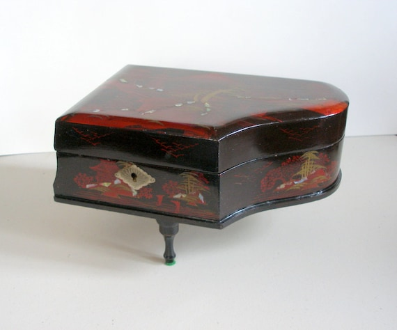 Vintage Piano Music Jewelry Box Oriental Lacquerware By