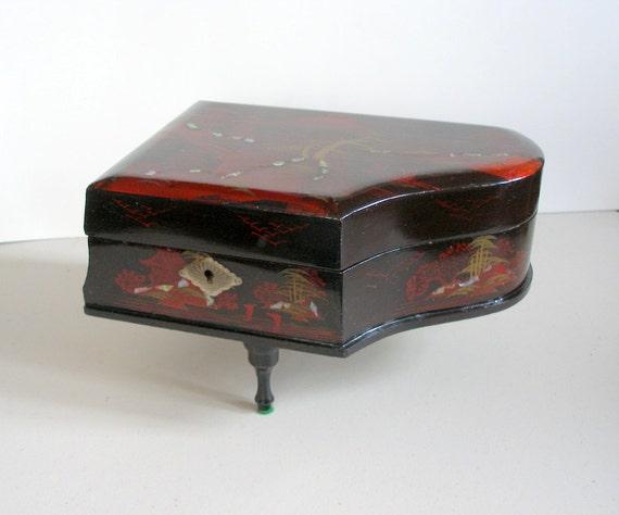Vintage Piano Music Jewelry Box Oriental Lacquerware