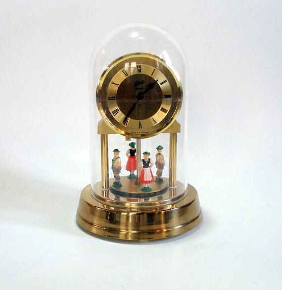 Vintage 1960s Schatz Anniversary Clock 7in Tall Folk Dancer