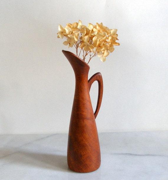 "Vintage DANISH TEAK EWER Vase, 7"" Tall Decorative Arts, Danish Modern, Handmade, Signed Denmark, Mother's Day Gift"