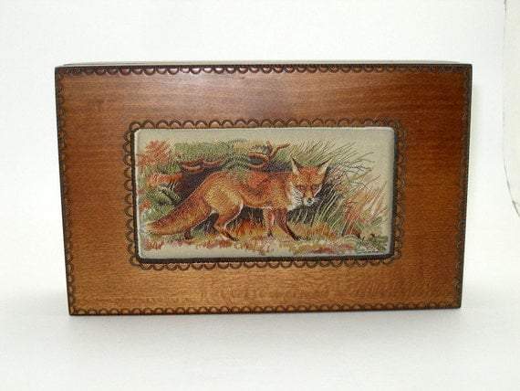 "Vintage Fox ""Born Free""  MUSIC JEWELRY  BOX,  J J  and Cash Embroidery Lid Coventry England, Tartara Mountains  Box Poland"