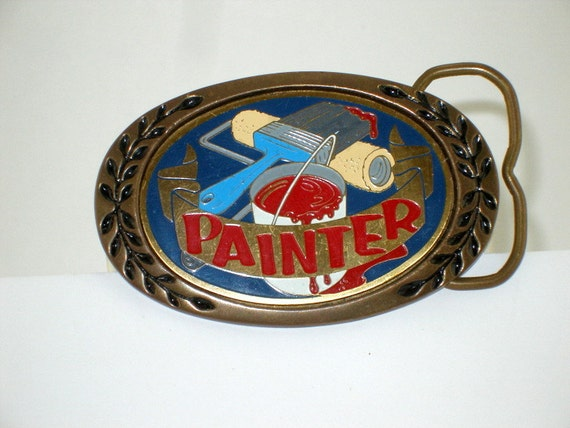 Vintage 1970's Brass ENAMELWARE  PAINTER Belt BUCKLE,  For the Artist or Painter, Vivid Colors Retro Mothers Fathers Day
