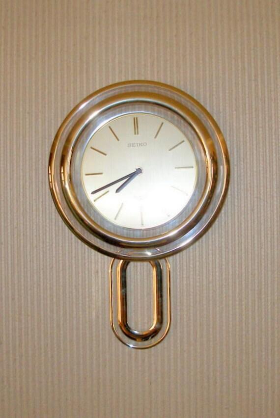 Vintage Seiko Floating Dial Pendulum Wall Clock Gold Tone