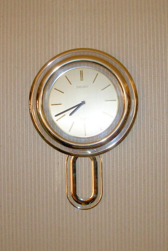 Vintage Seiko Floating Dial Pendulum Wall Clock Gold Tone