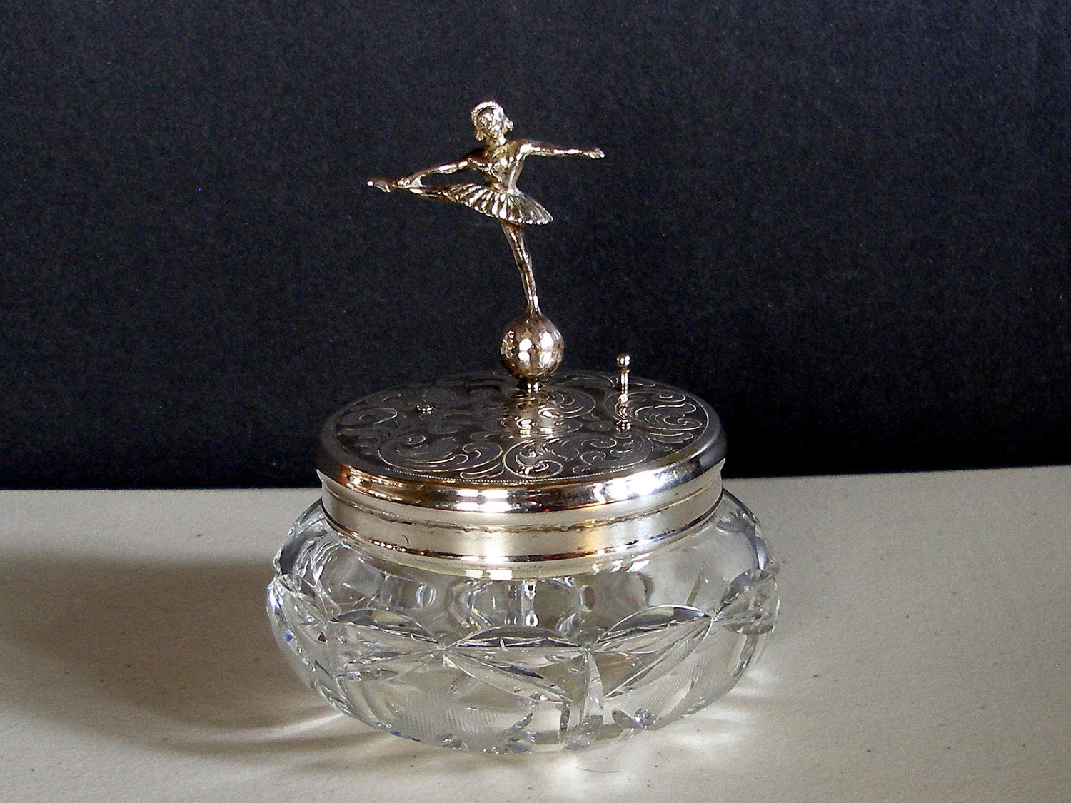 Vintage Reuge Ballerina Music Box Dresser Jewelry Powder