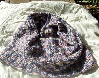 Hand Crocheted, Lavender, Purple, Pink and White Cowl Back to School