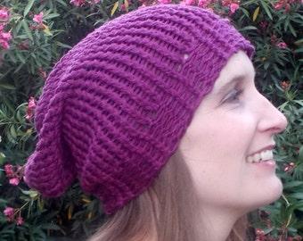 Purple, Mauve, 100 Percent Cotton, Hand Knit, Slouchy Beanie Hat Spring Summer