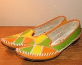JEWEL Tone Originals Vintage Avant Garde Patchwork Shoes Flats VEGAN Women's size 9 Hipster RETRO 60's Pointy Orange Yellow Green Statement
