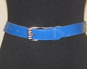 BLUE Skinny BELT Size S M // Vintage Hipster Chic 70's 80's LEATHER Cinch Silver Studs