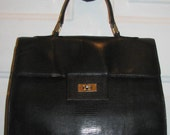 BIRKIN Style Black Purse HANDBAG Kelly Bag Gold Clasp Preppy Classic Chic Runway Leather EMBOSSED Moc Croc Faux Reptile Large Distressed