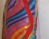 RESERVED // RAINBOW Swirl // Striped RALFEAUX Tote Bag 80's Library Bag Purse Multi Color Pride Red Plastic Clear