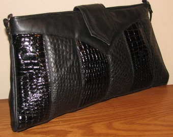 OVERSIZED Vintage Black Purse//  Huge Purse Clutch 80's Leather Embossed Moc CROC 70's Rockstar