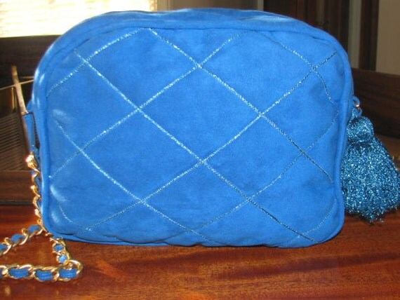 Vintage Royal Blue QUILTED PURSE Tote Fluffy Tassel Gold Chain Metallic 80s Matching Heels Satchel Holiday Bright Classic Chic 90s