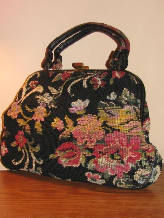 Vintage Large Carpet Bag Purse Marry Poppins Kelly Frame Multi