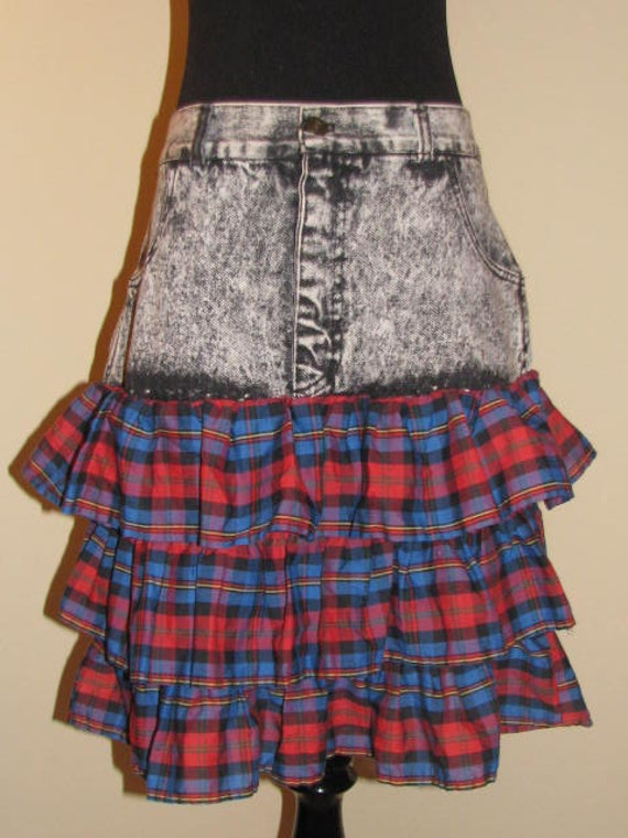 Valley Girl // ENTRE Stonewash RED Blue Plaid Layered Flounce SKIRT Upcycled Size 30 or 8/10 Frills Frilly 80's 90's