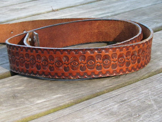 Vintage Men's SNAP BELT Brown Leather Size 42 // 70's Western Distressed TOOLED Embossed
