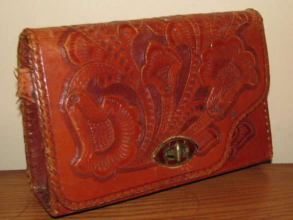 Vintage TOOLED Leather Purse // CLUTCH Structured Box DISTRESSED Western Reversible 1970's Cowgirl Mexico Brown Convertible