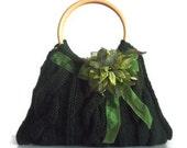 Green Knitted JUBBJUBB handmade handbag with green flower