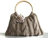 Knitted JUBBJUBB Taupe color handmade handbag with taupe color flower FREE GLOVES