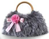 knitted silver grey handmade fur JUBBJUBB handbag with pink satin flower