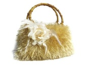 Yellow knitted fur purse JUBBJUBB handbag with light yellow flower bamboo bag handles