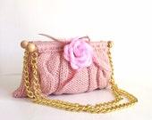 knitted bag purse pink hand knitted everyday purse shoulder bag pink summer bags purses knitted handbag shoulder bag
