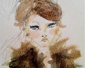 Fur Collar Attitude 5x7 Watercolor Girl