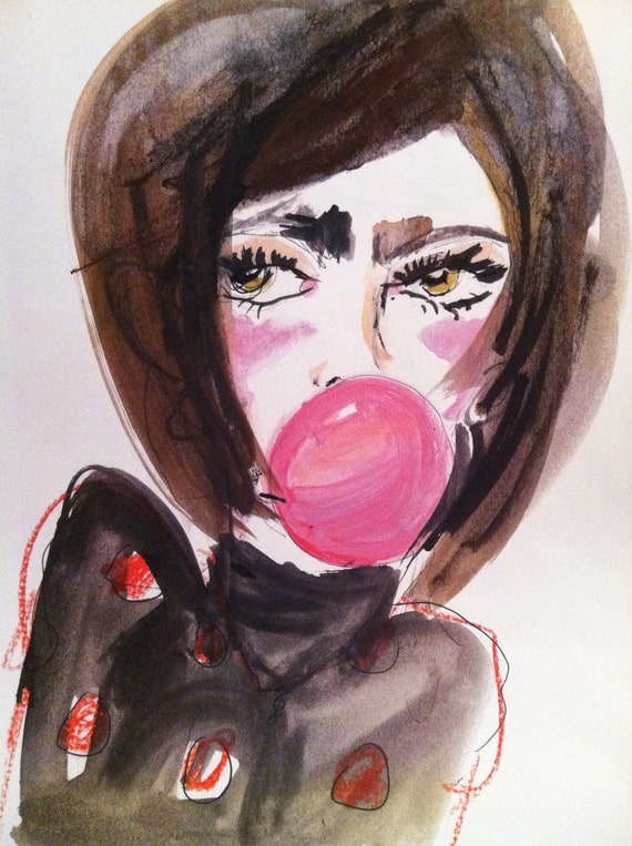 Pink Bubblegum Watercolor Girl