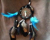 Black and Genuine Turquoise 3 inch Dreamcatcher