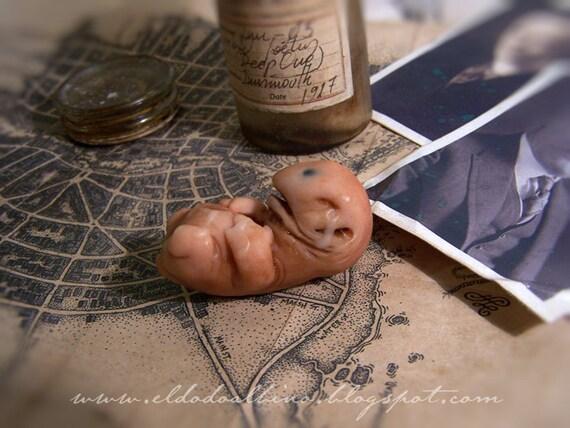 Innsmouth specimen. Deep One fetus prop set. H.P. Lovecraft Call of Cthulhu LARP game