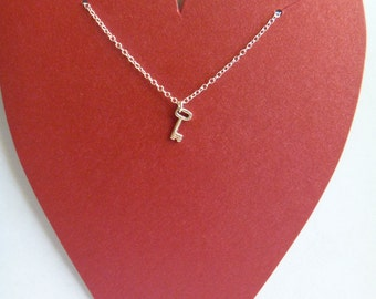 Sterling Silver Necklace with Tiny Sterling Silver Key Charm