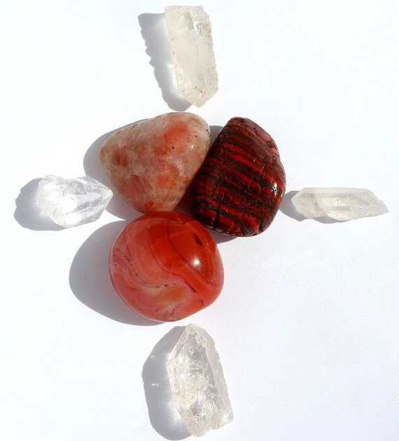Sacral Chakra, Carnelian, Red Tiger Iron and Sunstone Good Vibrations Crystal Therapy Kit for a Fire in the Belly