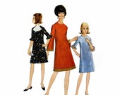 McCall's 8417, 1960s Dress with Belled Sleeves, Sewing Pattern, Petite Size 11 to 13, Bust 33