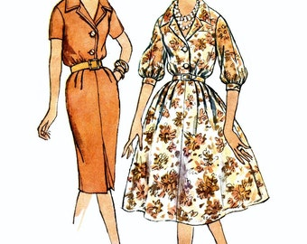 Simplicity 3009, 1950s Dress Pattern, Button Front Dress, Slim Skirt or Full Skirt