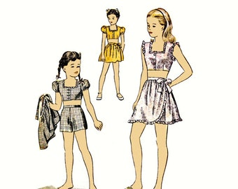 Simplicity 1312, 1944, Girls Play Suit pattern, WWII, wartime era, vintage size 10 girls, bust 28