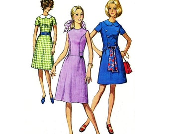 Simplicity 9167, Size 10, Bust 32 1/2, 1970 Vintage Dress Sewing Pattern