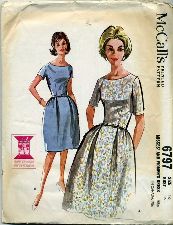 """McCall's 6797, Scooped neck dress pattern, 1960s """"Mad Men"""" era, vintage size 16, Bust 34"""