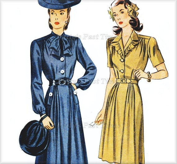 1940s, War Time, Dress Sewing Pattern, Simplicity 4809,  from1943.