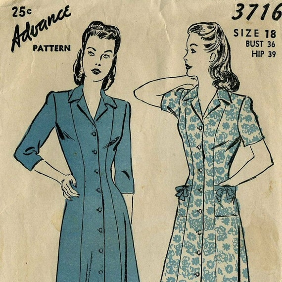 Advance 3716,Vintage 1940s, Button Up Womens Dress Pattern, mid 40s