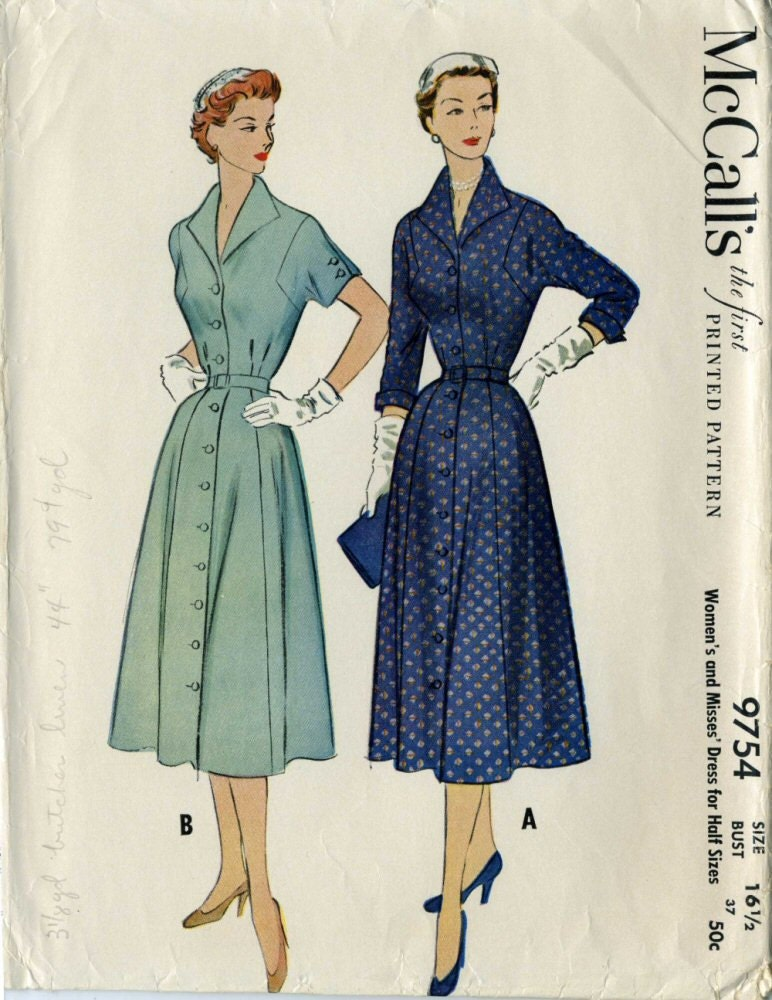 Mccalls 97541950s Shirt Dress Pattern Vintage By