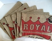 Placemats Recycled Burlap Coffee Bag (set of 6) - Royal Red and Kelp Geometric