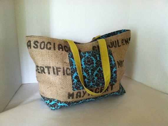 Repurposed Coffee Bean Burlap Tote Bag (Large) Damask Aqua and Brown with Chartreuse